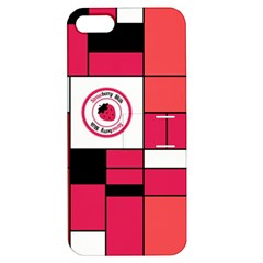 Brand Strawberry Piet Mondrian Pink Apple iPhone 5 Hardshell Case with Stand