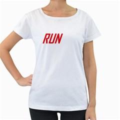 RUN White Oversized Womens T-shirt
