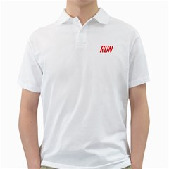 RUN White Mens Polo Shirt - Double-sided Print