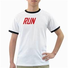 RUN White Ringer Mens T-shirt - Double-sided Print
