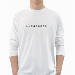 SUCCESS White Long Sleeve Mens T-shirt - Double-sided Print
