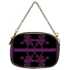 Ornamental Pink & Black Single Sided Evening Purse