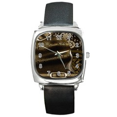 Steampunk Black Leather Watch (Square)