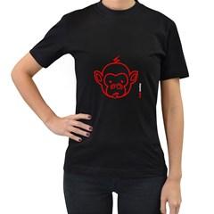 FunkyMonkey Red Outline Women s Black T-Shirt