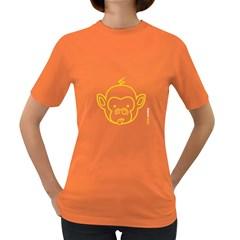 FunkyMonkey Yellow Outline Women s Dark T-Shirt