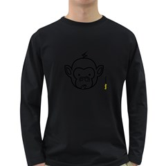 Monkey Black Outline Long Sleeve Dark T-Shirt