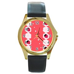 Cake Top Rose Round Gold Metal Watch