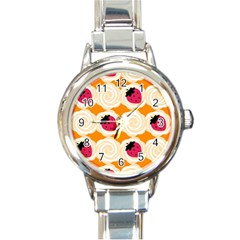 Cake Top Orange Round Italian Charm Watch