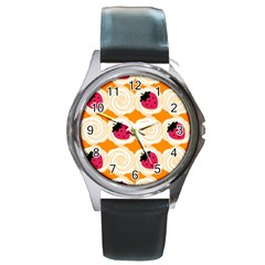 Cake Top Orange Round Metal Watch