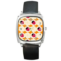 Cake Top Orange Square Metal Watch