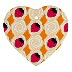 Cake Top Orange Heart Ornament (two Sides)