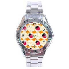 Cake Top Orange Stainless Steel Analogue Men's Watch