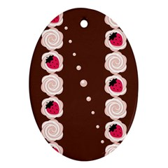 Cake Top Choco Oval Ornament (Two Sides)