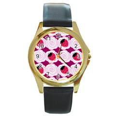 Cake Top Grape Round Gold Metal Watch