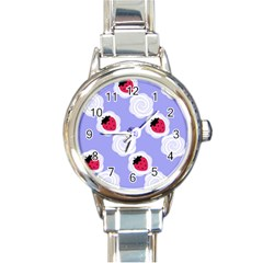Cake Top Blueberry Round Italian Charm Watch