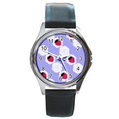 Cake Top Blueberry Round Metal Watch
