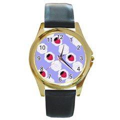 Cake Top Blueberry Round Gold Metal Watch