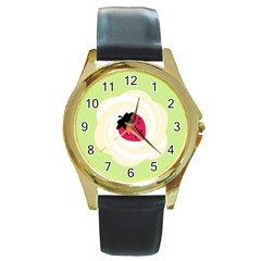 Cake Top Lime Round Gold Metal Watch