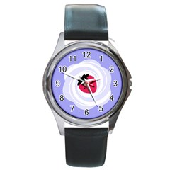 Cake Top Purple Round Metal Watch
