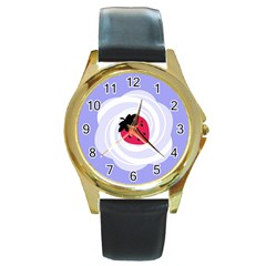 Cake Top Purple Round Gold Metal Watch