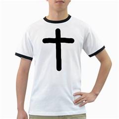 Crosstrans White Ringer Mens'' T-shirt