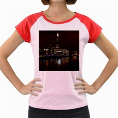 The Shard and Southbank London Colored Cap Sleeve Raglan Womens  T-shirt