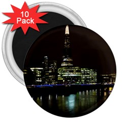 The Shard and Southbank London 10 Pack Large Magnet (Round)