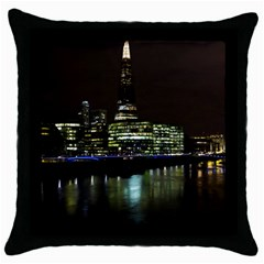 The Shard and Southbank London Black Throw Pillow Case