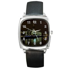 The Shard and Southbank London Black Leather Watch (Square)