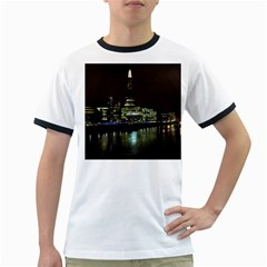 The Shard and Southbank London White Ringer Mens'' T-shirt