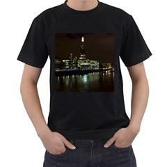 The Shard and Southbank London Twin-sided Black Mens'' T-shirt