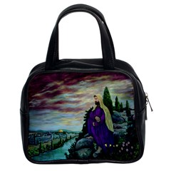 Jesus Overlooking Jerusalem By Ave Hurley  Twin Sided Satched Handbag
