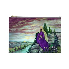 Jesus Overlooking Jerusalem By Ave Hurley  Large Makeup Purse