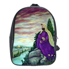 Jesus Overlooking Jerusalem by Ave Hurley  Large School Backpack