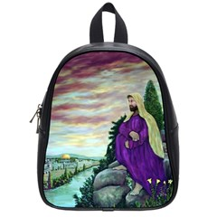 Jesus Overlooking Jerusalem by Ave Hurley  Small School Backpack
