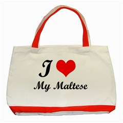 I Love My Maltese Red Tote Bag
