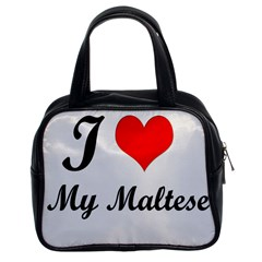 I Love My Maltese Twin Sided Satched Handbag