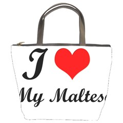 I Love My Maltese Bucket Handbag