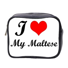 I Love My Maltese Twin Sided Cosmetic Case