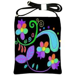 Dancing Flowers Painted Shoulder Bag Cross Shoulder Sling Bag