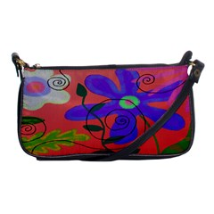 Funky Flowers Painted Clutch Purse