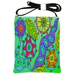 Abstract Flowers Shoulder Bag Cross Shoulder Sling Bag