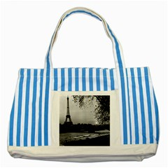 Vintage France Paris Eiffel tour & Seine at dusk 1970 Blue Striped Tote Bag