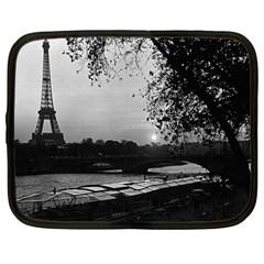 Vintage France Paris Eiffel Tour & Seine At Dusk 1970 12  Netbook Case