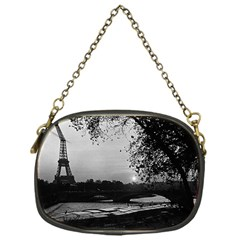 Vintage France Paris Eiffel tour & Seine at dusk 1970 Single-sided Evening Purse