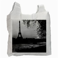 Vintage France Paris Eiffel Tour & Seine At Dusk 1970 Single Sided Reusable Shopping Bag
