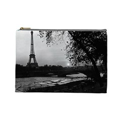 Vintage France Paris Eiffel tour & Seine at dusk 1970 Large Makeup Purse