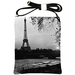 Vintage France Paris Eiffel tour & Seine at dusk 1970 Cross Shoulder Sling Bag