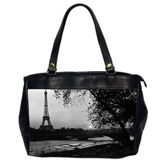 Vintage France Paris Eiffel tour & Seine at dusk 1970 Twin-sided Oversized Handbag