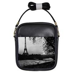 Vintage France Paris Eiffel Tour & Seine At Dusk 1970 Kids  Sling Bag